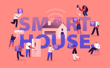 Smart House Concept. People Using Artificial Intelligence Technology And Internet Of Things Application Services For Control Home Devices Poster Banner Flyer Brochure. Cartoon Flat Vector Illustration