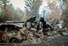 Australian Bushfire Aftermath: Burnt Building And Car Carcass At Blue Mountains, Australia