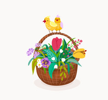 Flower Basket With Two Chicken...