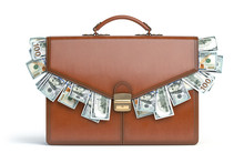 Briefcase Full Of Dollars Isolated On White Background. Bribery, Corruption, Stock Exchange Portfolio Financial Concept.