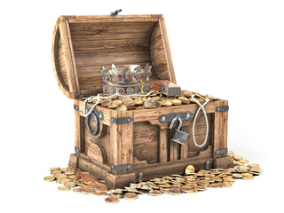 Open treasure chest filled with golden coins, gold and jewelry isolated on wh...