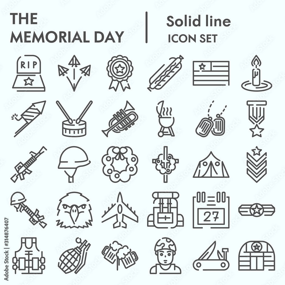 Fototapeta Memorial day line icon set, holiday symbolism symbols collection, vector sketches, logo illustrations, patriotic army signs linear pictograms package isolated on white background, eps 10.