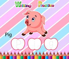Worksheet Writing Practice Alphabet P For Pig Of Illustration