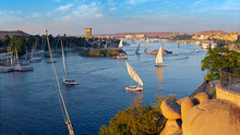 Beautiful Panorama Landscape With Felucca Boats On Nile River In Aswan At Sunset, Egypt