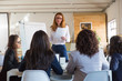 Businesswoman with papers giving presentation to colleagues. Professional young businesswoman holding papers and looking at female coworkers in office. Business meeting concept
