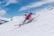 Girl Skier Accident Crash On A Ski Slope On A Sunny Day, Solden, Austria, Europe