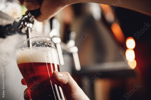 Obraz Bartender pours craft drink beer from tap into glass, dark background - fototapety do salonu