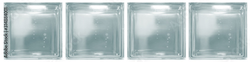 Fototapeta Isolated clear blue see through transparent four square bathroom glass blocks cube with minimal white simple bubble smooth pattern