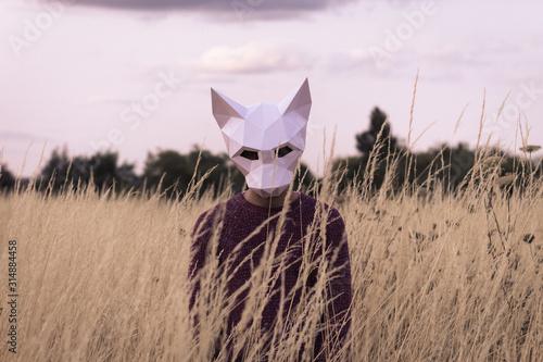 Hombre con Mascara Fototapet