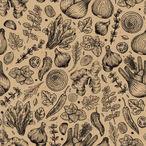 ziola-i-przyprawy-kuchenne-wzor-imbir-szpinak-cebula-papryka-czosnek-koper-wloski-bazylia-oregano-ilustracji-wektorowych