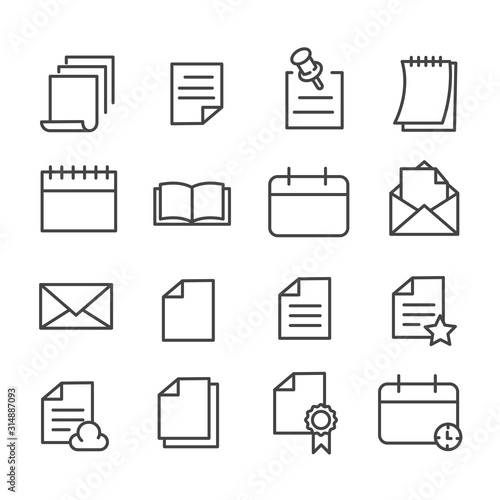 Set of document or paper icon isolated Wallpaper Mural