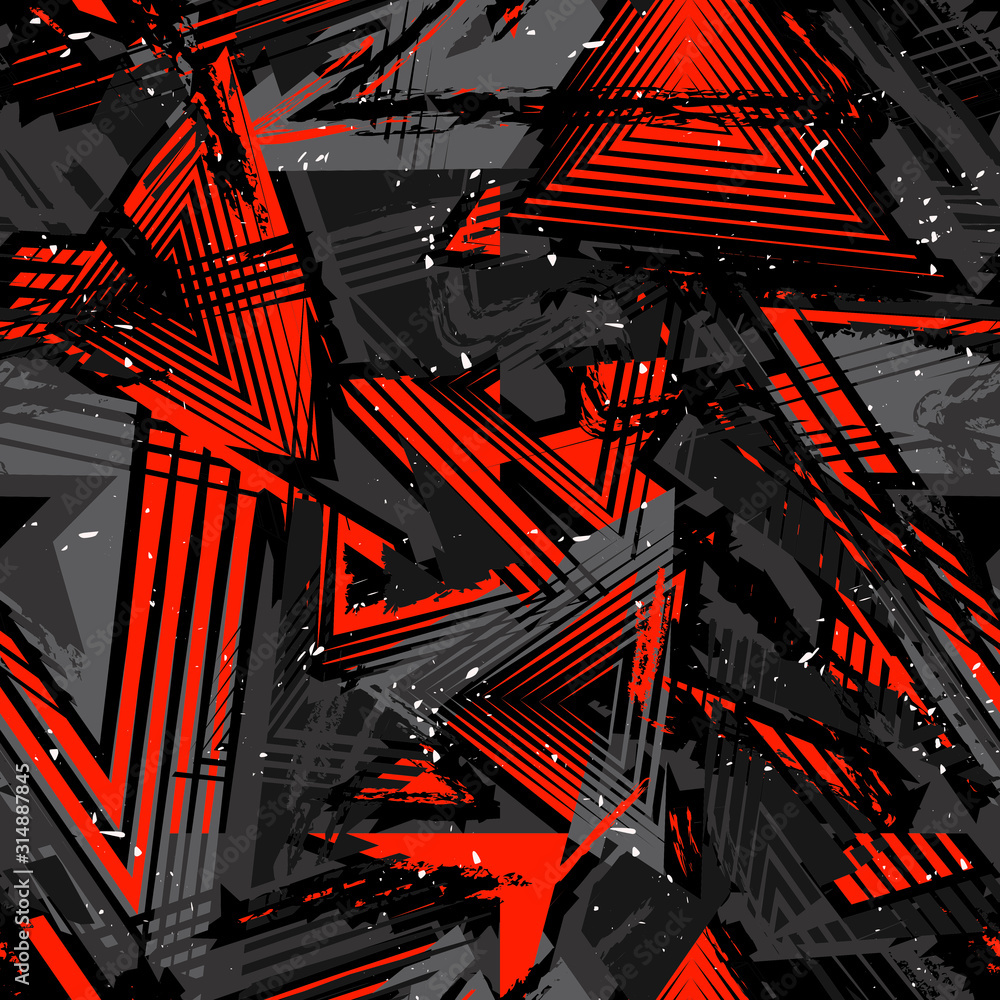 Abstract seamless grunge pattern. Urban art texture with neon lines, triangles, chaotic brush strokes, ink elements. Colorful graffiti vector background. Trendy design in red, black and gray color