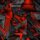Fototapeta Młodzieżowe - Abstract seamless grunge pattern. Urban art texture with neon lines, triangles, chaotic brush strokes, ink elements. Colorful graffiti vector background. Trendy design in red, black and gray color