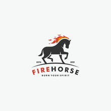 Vector Logo Illustration Animal Running Horse With Flame Fire Strong Emblem Style