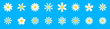Chamomile. White Daisy Round Flower Set. Camomile Icon Collection.  Isolated On Blue Background. Flat Design. Vector Illustration. Summer Chamomile Flower. Love Symbol
