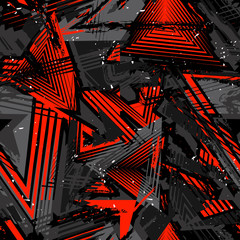 Abstract seamless grunge pattern. Urban art texture with neon lines, triangle...