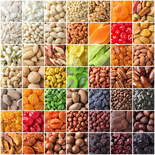mix kinds nuts and dried fruit. colorful raw food collage