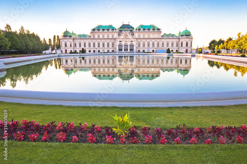 Belvedere park in Vienna water reflection view Canvas Print