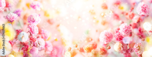 Obraz Spring floral composition made of fresh colorful flowers on light pastel background. Festive flower concept with copy space. - fototapety do salonu