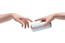 Two Male Hands Passing One Another Blank White Beer Can On White Background