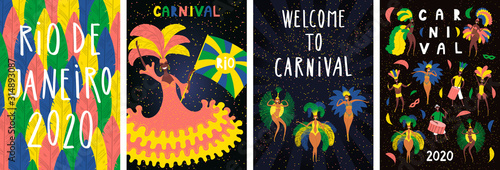 Photo Set of Brazilian Carnival posters with dancing people in bright costumes, colorful feathers, text
