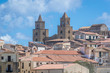 Tower of cathedral on the Old Town of Cefalu city located on the Tyrrhenian Sea on Sicily Island in Italy