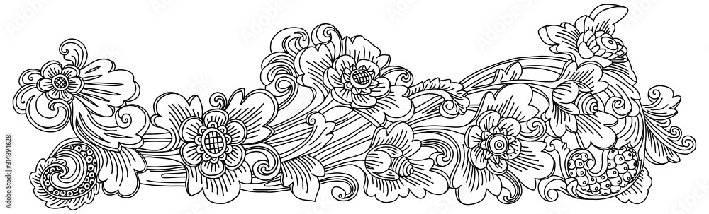 Fototapeta Traditional Balinese style decoration vector doodle floral ornament isolated on white background