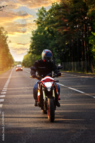 motorcycle trip on a beautiful summer day Wallpaper Mural