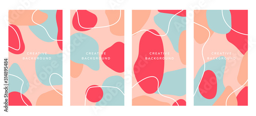Fototapety, obrazy: Social media story cover page. Invite and Invitation, Creative organic shape backgroud vector, Minimal trendy style  social media stories template.