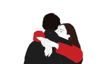 Coppia Romantica Isolate Su Sfondo Bianco Illustrazione Digitale Minimal. Abbraccio Amore Di Giovani Innamorati. Illustrazione Digitale Minimal