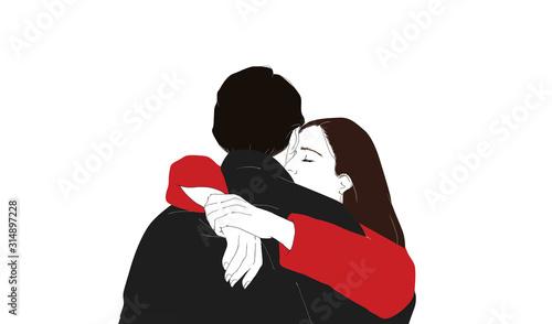 Obraz na plátně Coppia romantica isolate su sfondo bianco Illustrazione digitale minimal