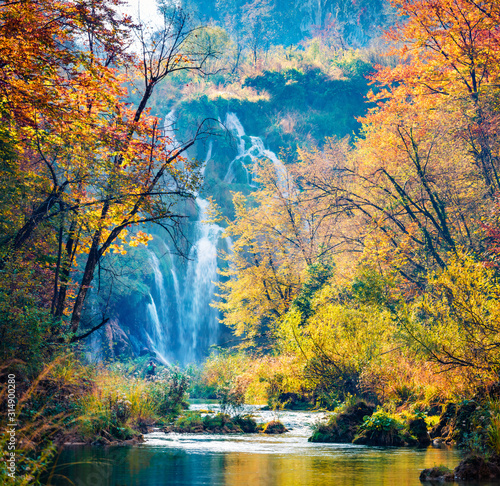 Amazing morning view of pure water waterfall in Plitvice National Park. Great autumn scene of Croatia, Europe. Abandoned places of Plitvice lakes series. Beauty of nature concept background.