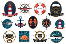 Set Of Vector Images, Marine Emblems. Lighthouse, Yacht, Helm, Anchor, Skull. Design Elements For Prints, Cards, Tattoos.