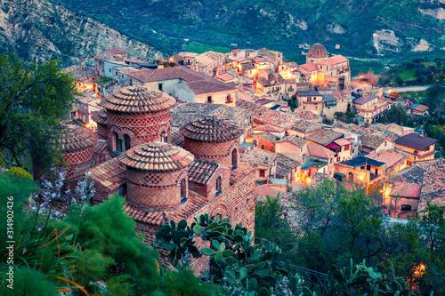 Fotografie, Tablou  Marvelous evening v iew of Stilo town with Cattolica di Stilo church, Apulia region, Italy, Europe