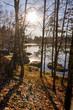 canvas print picture - Wasser See im Gegenlicht