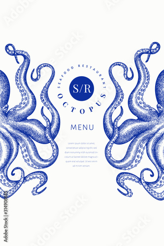 Foto Octopus colored banner template