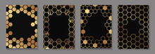 Set Of Modern Geometric Luxury Black Backgrounds For Business Or Presentation Or Greeting Cards With Golden Honeycombs Or Hexagons.