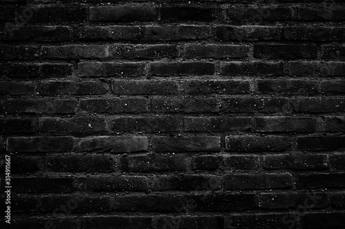 Background of black old brick wall Canvas Print