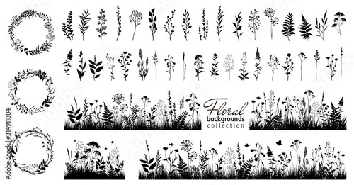Big floral collections of black silhouettes of meadow herbs, floral backgrounds and wreaths. Wildflowers. Wild grass. Floral elements for your design. Vector illustration.
