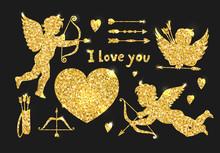 Golden Glitter Cupids And Hear...