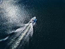 Aerial View Of Speed Boat Or Y...