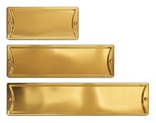 Empty Gold Or Brass Metal Plates Set, Isolated On A White Background. Clipping Path Included. 3d Illustration