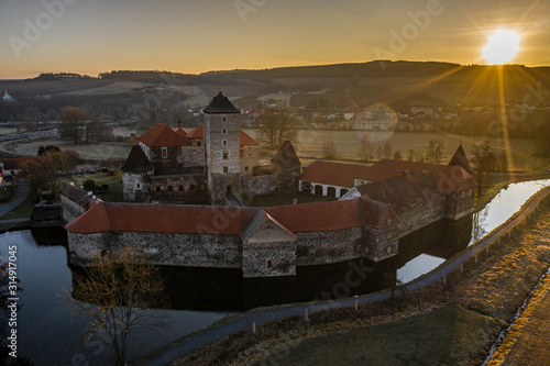 Svihov castle was besieged by Hussite wars, the garrison surrendered after their water moats were siphoned Canvas Print