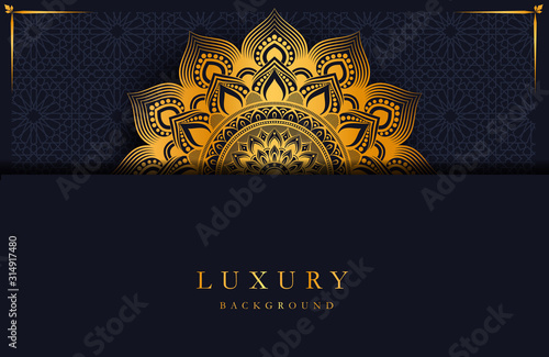 Luxury background with gold islamic mandala ornament on dark surface Canvas Print