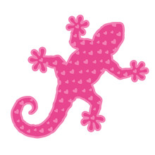 Art With Pink Gecko Silhouette...