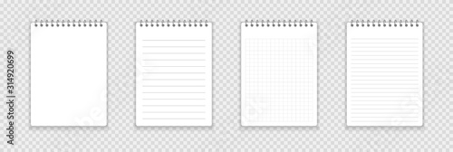 Cuadros en Lienzo Realistic notebook or notepad with binder isolated