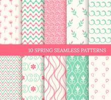 Ten Spring Seamless Patterns. ...