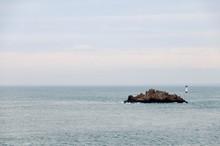 France. Bretagne. Ilot Et Phare Sur La Cote Bretonne. Island And Lighthouse On The Brittany Coast.