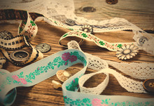 Ribbon, Lace, Tape With Embroi...