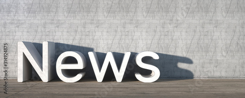News With Empty Space on Left Side. 3D Rendering Slika na platnu